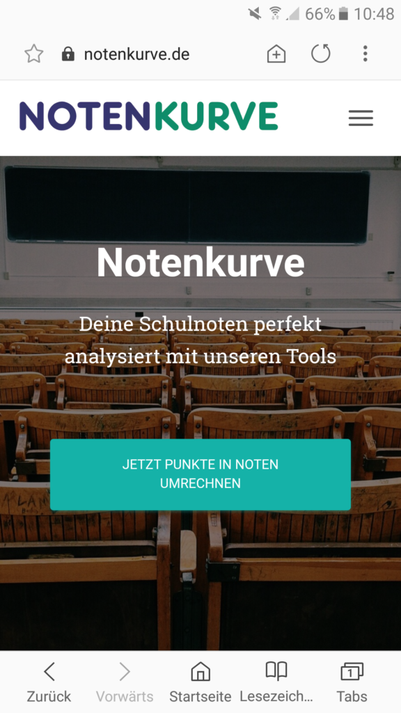 Notenkurve Webseite Mobile